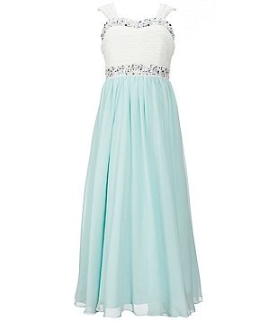 Xtraordinary Big Girls 7-16 Beaded Color Block Chiffon Maxi Dress