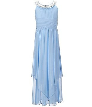 Xtraordinary Big Girls 7-16 Pearl-Trim Handkerchief-Hem Maxi Dress