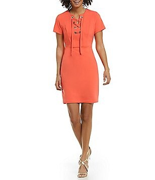 Vince Camuto Round Neck Short Sleeve Grommet Lace-Up Dress