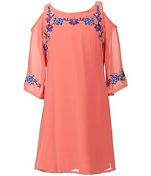 Xtraordinary Big Girls 7-16 Floral-Embroidered Cold-Shoulder Shift Dress