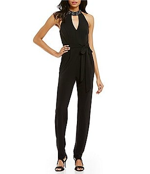 Vince Camuto Halter Choker Neck Sleeveless Solid Crepe Jumpsuit