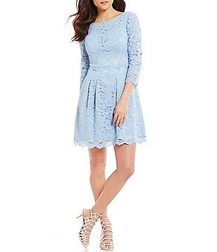 Vince Camuto Bateau Neck 3/4 Sleeve Lace Fit-and-Flare Dress