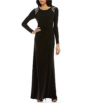 Vince Camuto Long Sleeve Beaded-Shoulder Gown