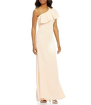 Vince Camuto One-Shoulder Ruffle Crepe Gown