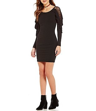 Buffalo David Bitton Jersey Ruffle Long Sleeve Sheath Dress