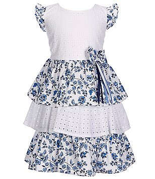 Bonnie Jean Little Girls 2T-4T Eyelet Floral Tiered Dress