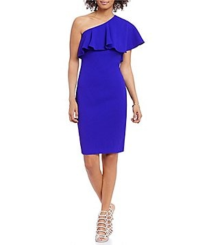 Vince Camuto Ruffled One Shoulder Sleeveless Solid Sheath Dress