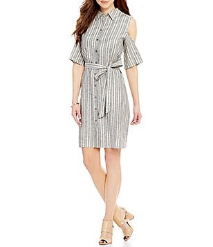 Antonio Melani Kendall Cold-Shoulder Stripe Linen Shirt Dress