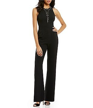 Vince Camuto Illusion Beaded Boat Neck Sleeveless Wide-Leg Jumpsuit