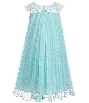Bonnie Jean Little Girls 4-6X Pleated Embroidered-Collar Dress