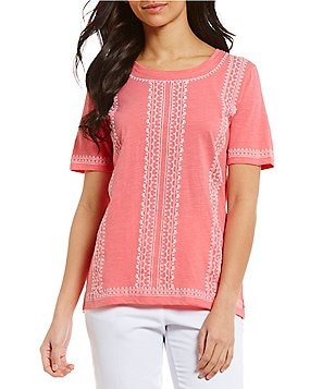 Allison Daley Short Sleeve Puff Print Knit Top