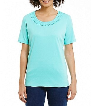 Allison Daley Petites Solid Crew Neck Embellished Knit Top