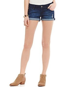 Celebrity Pink Roll Cuff Distressed Stretch Denim Shorts