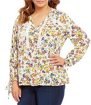 Jessica Simpson Plus Sancia Blouson Long Sleeve Peasant Top