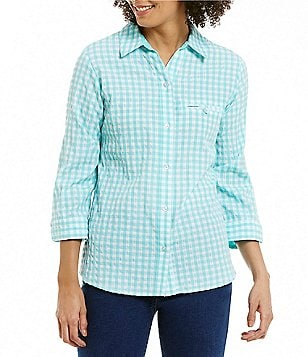Allison Daley Petites Point Collar Button Front Gingham Blouse