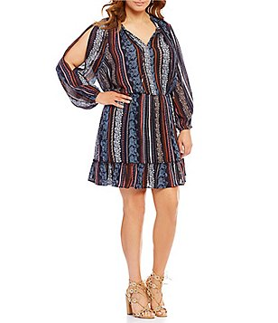 Jessica Simpson Plus Meadow Long Sleeve Peasant Dress