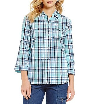 Allison Daley Petites Button-Up Plaid Blouse