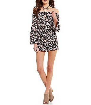 Moa Moa Off-The-Shoulder Floral Printed Romper