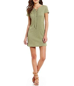 Roxy Go Your Way Front Lace-Up Short-Sleeve Ribbed Knit T-Shirt Dress