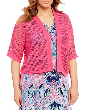 Allison Daley Plus Open Front Elbow Sleeve Cardigan