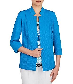 Allison Daley Stand Collar Open Front Jacket