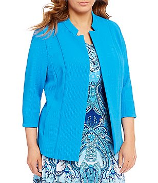 Allison Daley Plus Stand Collar 3/4 Sleeve Open Front Jacket