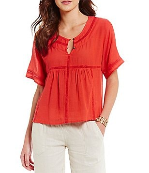 Roxy Zapotec Short Sleeve Button-Front Top