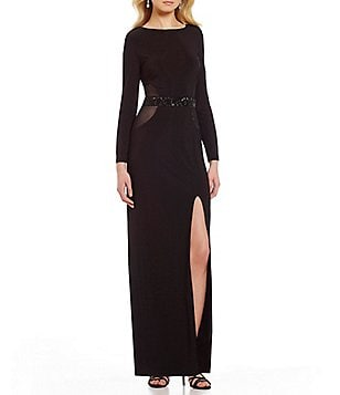 Marina Beaded-Waist Cowl-Back Long Sleeve Front Slit Jersey Gown