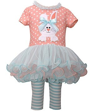 Bonnie Jean Little Girls 2T-4T Bunny-Appliqué Easter Dress & Striped Capris Set