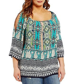 Moa Moa Plus 3/4 Sleeve Printed Cold Shoulder Tunic