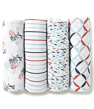 Aden + Anais Baby Boys Tea Fish Pond 4-Pack Muslin Swaddle Blankets