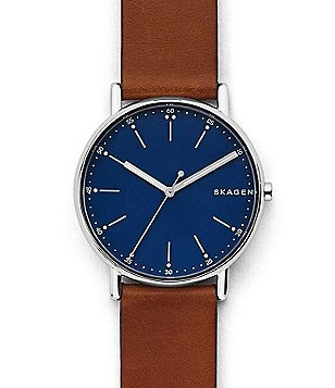 Skagen Signature Analog Leather-Strap Watch