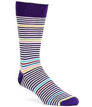 Bugatchi Mercerized White Stripe Mid-Calf Socks