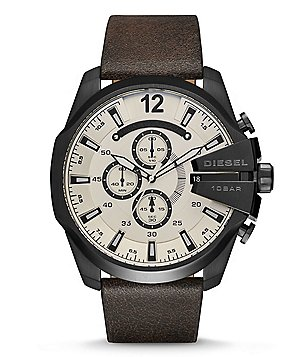 Diesel Mega Chief Leather-Strap Chronograph Watch