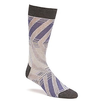 Bugatchi Mercerized Diagonal Stripe Mid-Calf Socks