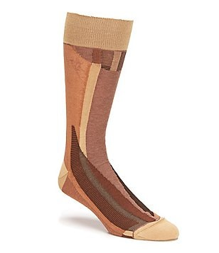 Bugatchi Mercerized Vertical Abstract Mid-Calf Socks