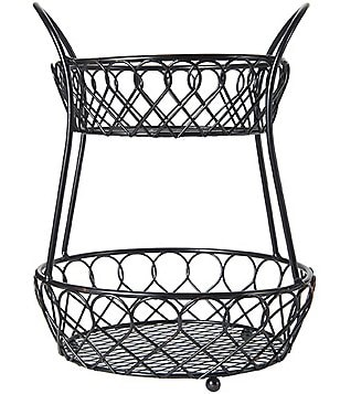 Gourmet Basics by Mikasa Loop & Lattice 2-Tier Countertop Wire Basket