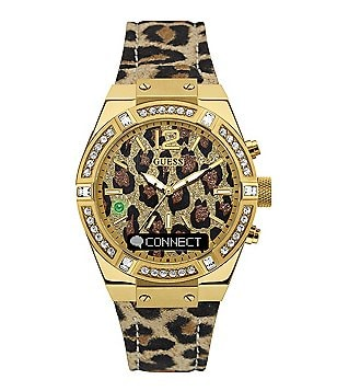 Guess Connected Animal-Print Leather-Strap Smart Watch