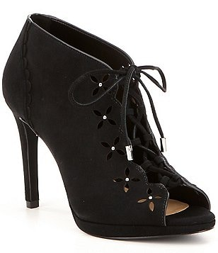 MICHAEL Michael Kors Thalia Suede Floral Cutout Scalloped Peep Toe Lace Up Booties