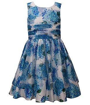 Bonnie Jean Big Girls 7-16 Floral-Printed Shantung A-Line Dress