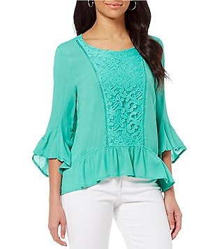 One World Apparel Solid Lace Front Scoop-Neck Flounce Top