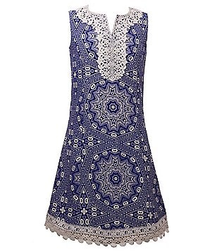 Bonnie Jean Big Girls 7-16 Medallion-Printed Textured Scalloped Lace-Trim Shift Dress