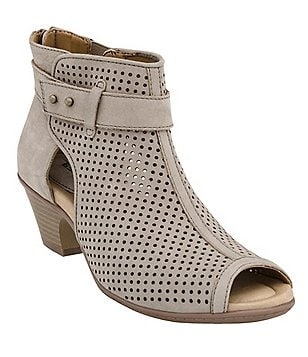 Earth Intrepid Perforated Nubuck Leather Peep Toe Booties