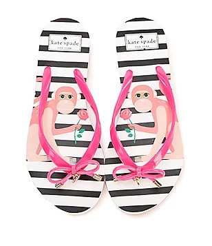 kate spade new york Nova Monkey Rubber Bow & Charm Thong Flip Flops