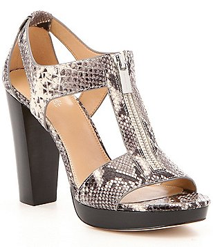 MICHAEL Michael Kors Berkley Embossed Snake Print Zip Up Dress Sandals