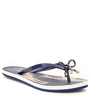 kate spade new york Nova Camel Rubber Bow & Charm Thong Flip Flops
