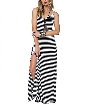 O´Neill Como Striped Knit V-Neck Lace-Up Back Maxi Dress