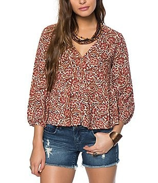 O´Neill Dasha Printed V-Neck Peasant Top