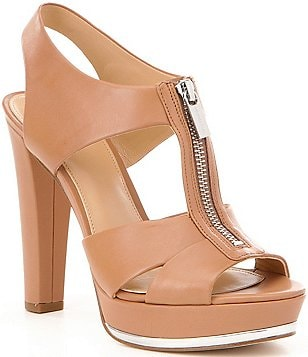 MICHAEL Michael Kors Bishop Leather Front Zip Backstrap Dress Sandals