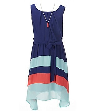 I.N. Girl Big Girls 7-16 Pleated Striped Sharkbite-Hem Sleeveless Crepe Dress
